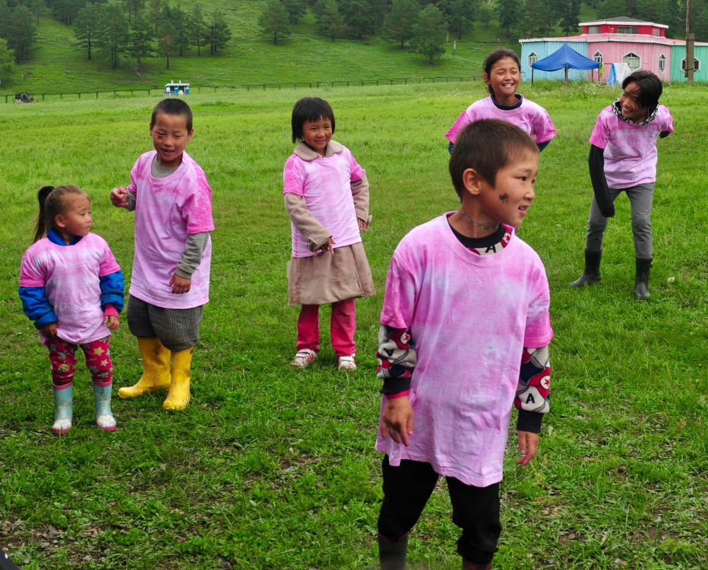 Summer camp kids in Mongolia